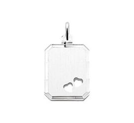 zilveren Graveerhanger rechthoek/hartjes
