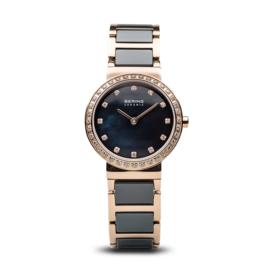 Bering horloge ceramic polished roségoud blauw 10729-767