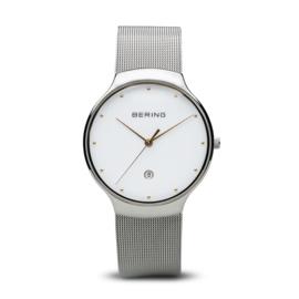 bering horloge classic polished zilver wit 13338-001