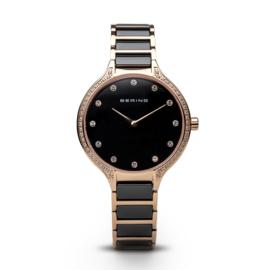 Bering horloge ceramic polished rosé goud zwart 30434-746