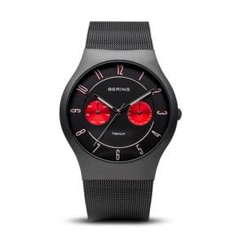 Bering horloge classic brushed titanium zwart rood 11939-229