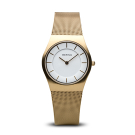 Bering horloge classic brushed goud wit 11930-334