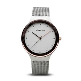 Bering horloge classic polished zilver bruin 12934-060