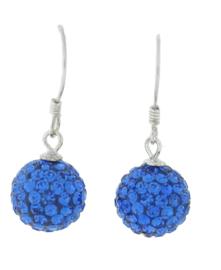 Zilveren hang oorbellen strass blauw