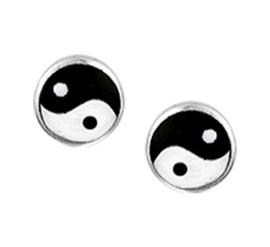 Zilveren Yin Yang oorbellen