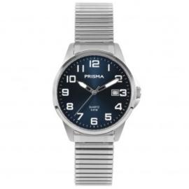Prisma Heren horloge Classic Steel Rekband Zilver/Blauw P.1481