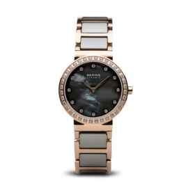 Bering horloge ceramic polished rosé goud grijs 10729-769