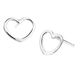 Gerhodineerd zilveren oorbel hartje