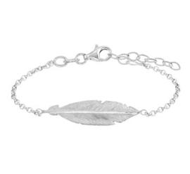 Gerhodineerd zilveren armband met veer