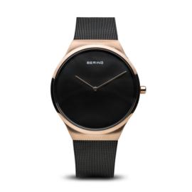 Bering horloge classic polished rosé goud zwart 12138-166