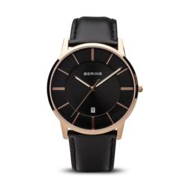 Bering horloge classic polished roségoud zwart 13139-466