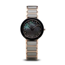 Bering horloge ceramic polished rosé goud grijs