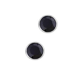 Gerhodineerde Zilveren oorknoppen rond Zwart zirkonia