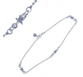 zilveren enkelbandjes sterretjes  25cm