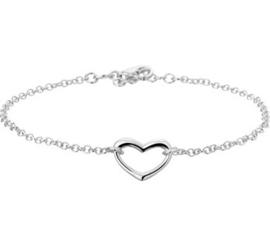 Gerhodineerd zilveren armbandje met hartje