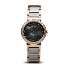 Bering horloge ceramic polished Rosé goud grijs 10725-769