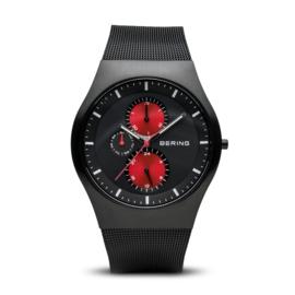 Bering horloge classic brushed zwart rood 11942-229