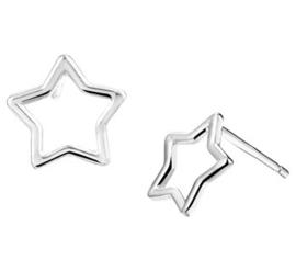 Gerhodineerd zilveren oorknopjes sterretje