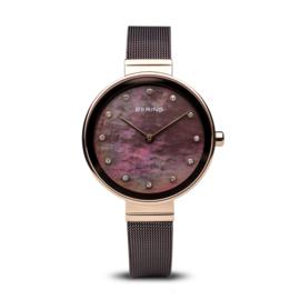 Bering horloge classic polished rosé goud bruin 12034-265