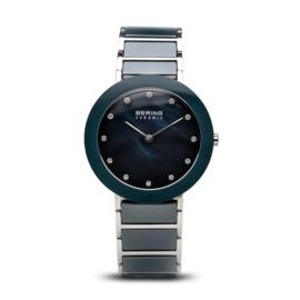 Bering horloge ceramic Blauw zilver 11435-787