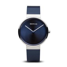 Bering horloge classic polished silver bleu 14539-307
