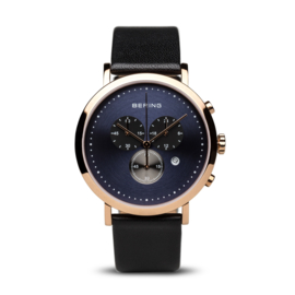 Bering horloge classic pollished roségold/bleu 10540-567
