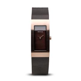 Bering horloge classic brushed roségoud bruin 10817-262