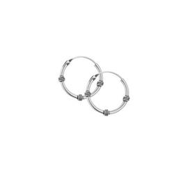 Zilveren Bali oorring/creool 18mm