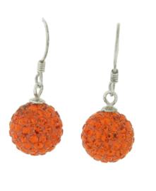 Zilveren hang oorbelen strass oranje