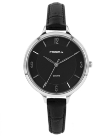 Prisma Dames Horloge Devotion Leather Zilver/Zwart P.8391