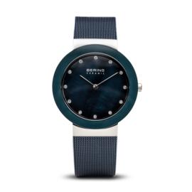 Bering horloge ceramic Blauw zilver 11435-387