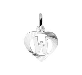 Zilveren hanger Letter W