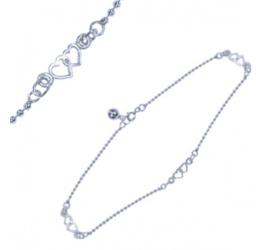 Zilveren enkelbandje hartjes 25cm