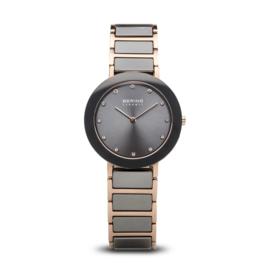 Bering horloge ceramic polished rosé goud grijs 11435-769