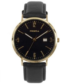 Prisma uniseks Horloge Slimline Mr. goud/zwart P.1504