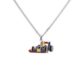 Gerhodineerd zilveren Ketting met Formule 1 hanger