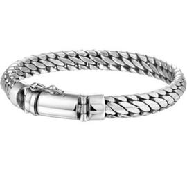 Massief zilveren armband groffe schakel 8mm
