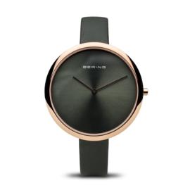 Bering horloge classic polished rosé goud groen 12240-667