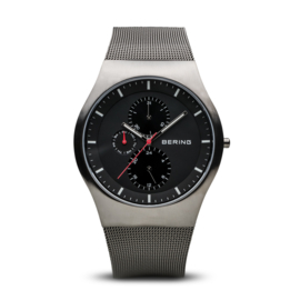 Bering horloge classic brushed grey black 11942-372