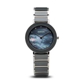 Bering horloge ceramic Zilver blauw 11429-789