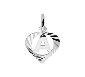 Zilveren hanger letter A