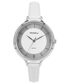 Prisma Dames Horloge Devotion Leather Zilver/Wit P.8390