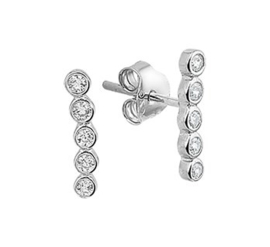Gerhodineerd zilveren oorbellen zirkonia oorlijn