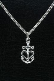 Zilveren hanger geloof hoop liefde klein