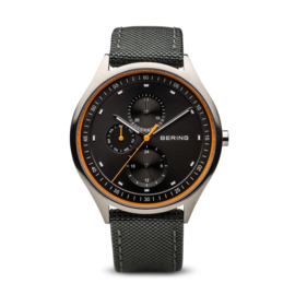 Bering horloge classic brushed Titanium zwart oranje 11741-879