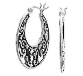 Zilveren dames oorringen filligrain