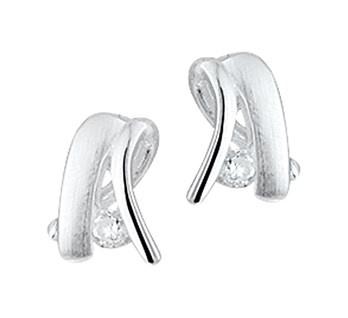 Zilveren oorbellen Mat en Glans met zirkonia