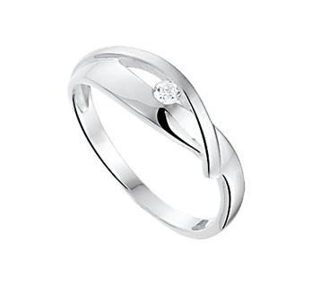 Zilveren dames ring mat glans met zirkonia