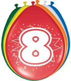 Ballonnen 30cm 8e Verjaardag