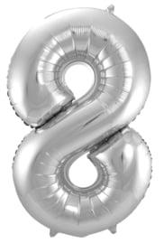 "Ballon 34"" Nummer 8 Zilver"